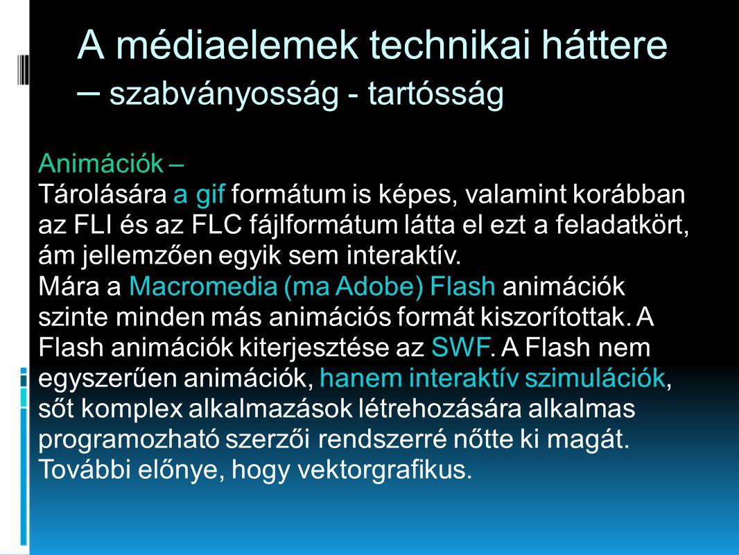 Animációk – Tárolására a gif formátum is képes, valamint korábban az FLI és az FLC fájlformátum látta el ezt a feladatkört, ám jellemzően egyik sem in