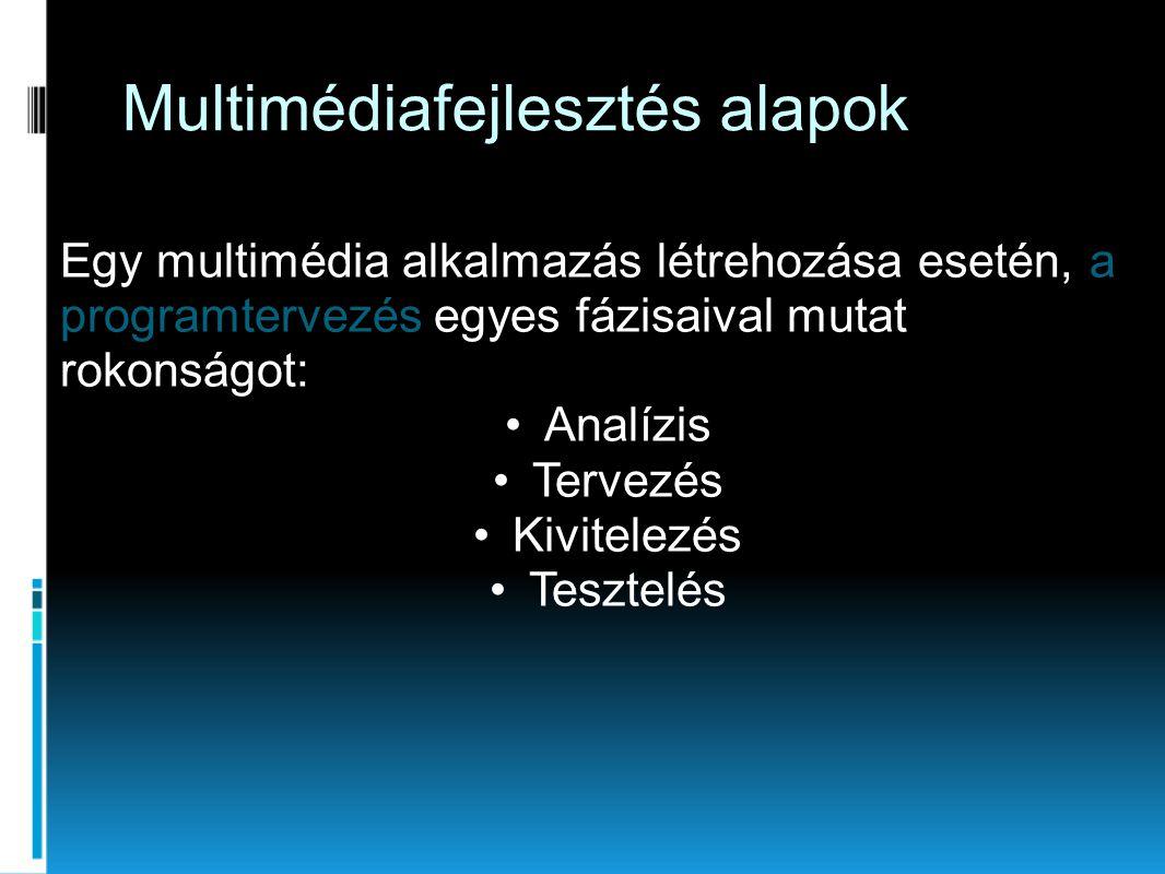 Multimédiafejlesztés alapok Egy multimédia alkalmazás létrehozása esetén, a programtervezés egyes fázisaival mutat rokonságot: •Analízis •Tervezés •Kivitelezés •Tesztelés