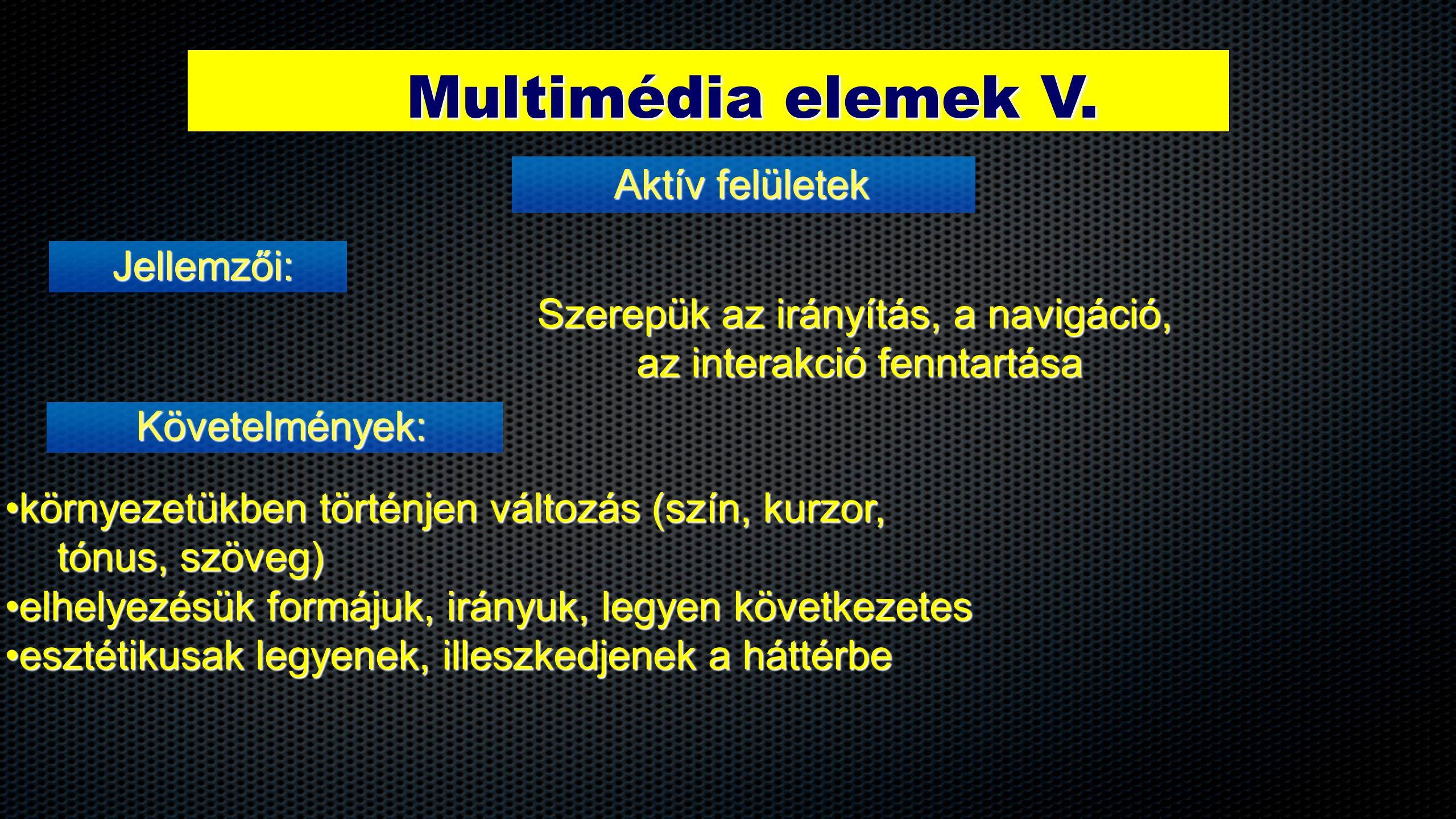 Multimédia elemek V.