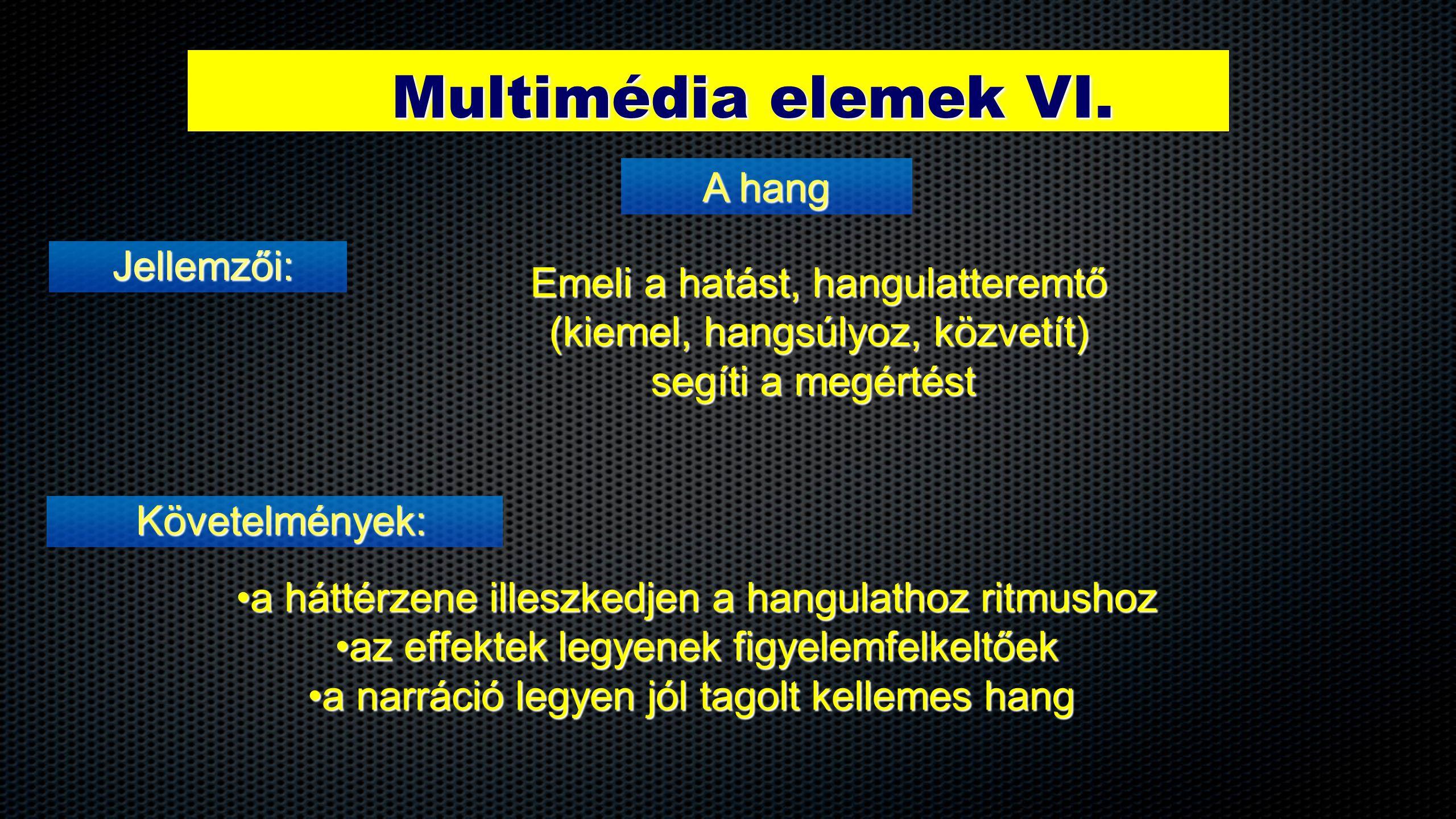 Multimédia elemek VI. Jellemzői: A hang Követelmények: Emeli a hatást, hangulatteremtő (kiemel, hangsúlyoz, közvetít) segíti a megértést •a háttérzene