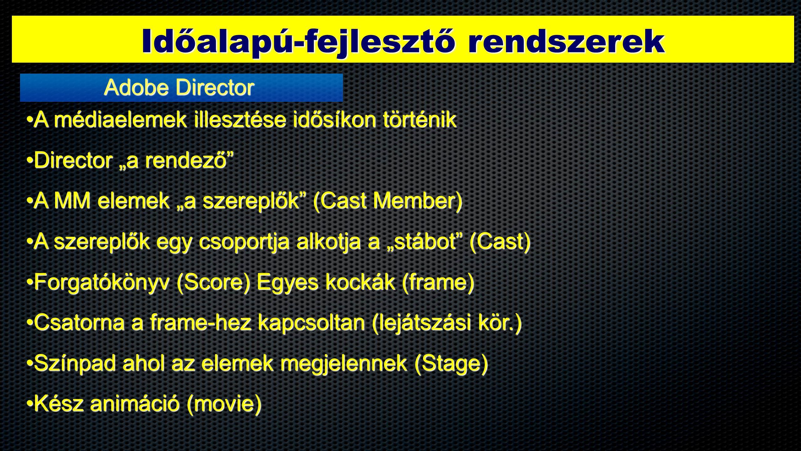 """Időalapú-fejlesztő rendszerek Adobe Director •A médiaelemek illesztése idősíkon történik •Director """"a rendező •A MM elemek """"a szereplők (Cast Member) •A szereplők egy csoportja alkotja a """"stábot (Cast) •Forgatókönyv (Score) Egyes kockák (frame) •Csatorna a frame-hez kapcsoltan (lejátszási kör.) •Színpad ahol az elemek megjelennek (Stage) •Kész animáció (movie)"""