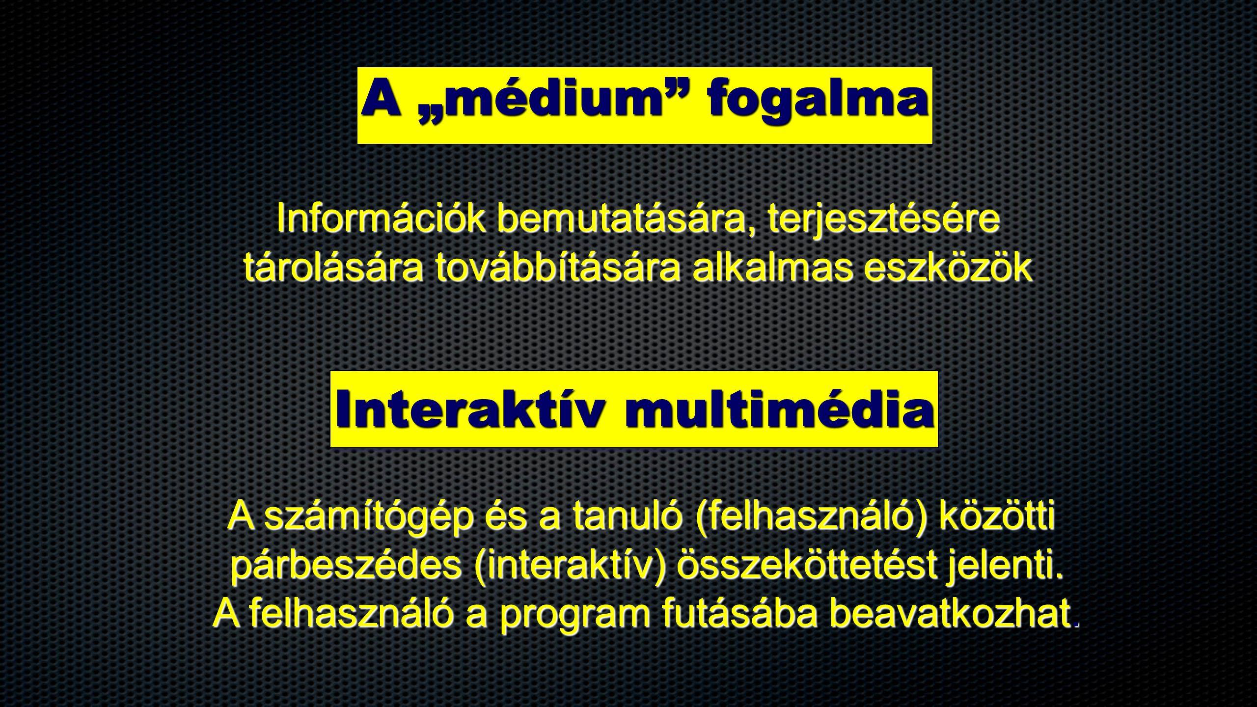 Interaktív multimédia A számítógép és a tanuló (felhasználó) közötti párbeszédes (interaktív) összeköttetést jelenti.