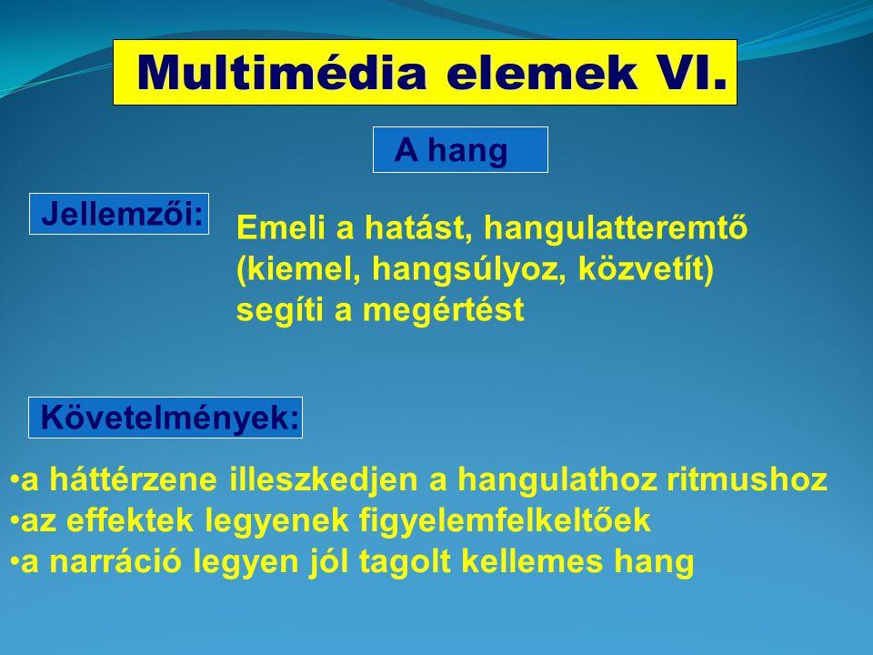 Multimédia elemek V. Jellemzői: Aktív felületek Követelmények: Szerepük az irányítás, a navigáció, az interakció fenntartása •környezetükben történjen