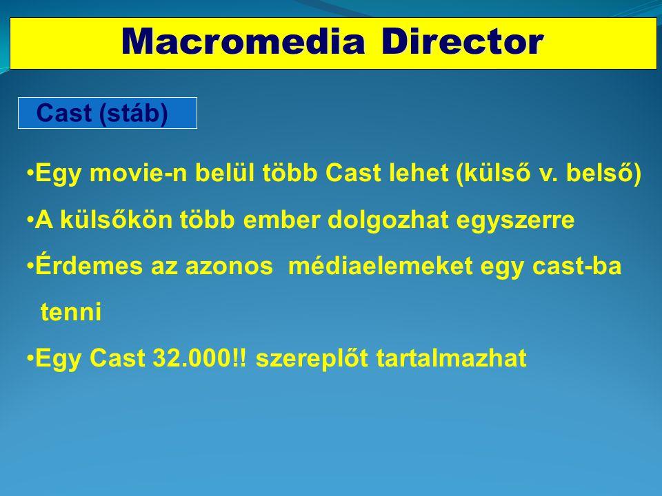 """Időalapú-fejlesztő rendszerek Macromedia Director •A médiaelemek illesztése idősíkon történik •Director """"a rendező"""" •A MM elemek """"a szereplők"""" (Cast M"""