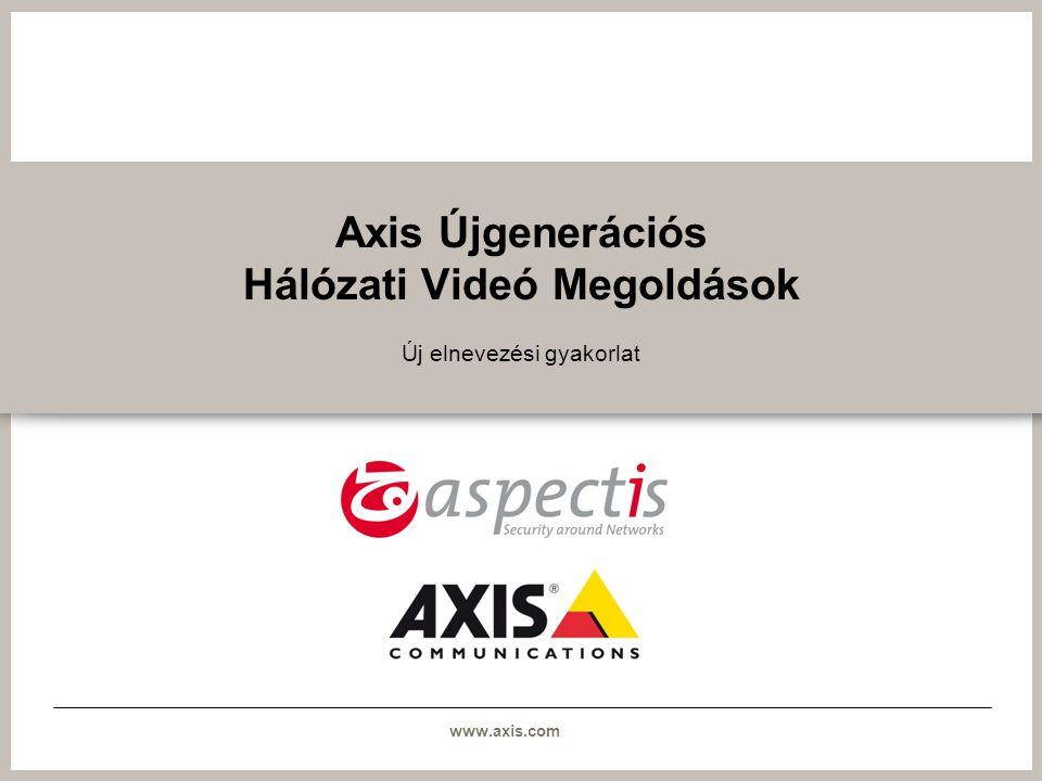 www.axis.com Új elnevezési gyakorlat >Az eddig használt elnevezési szabály kevés információval szolgál a termékről >Az új elnevezési gyakorlatot az Axis újgenerációs hálózati videó termékeivel együtt vezetik be