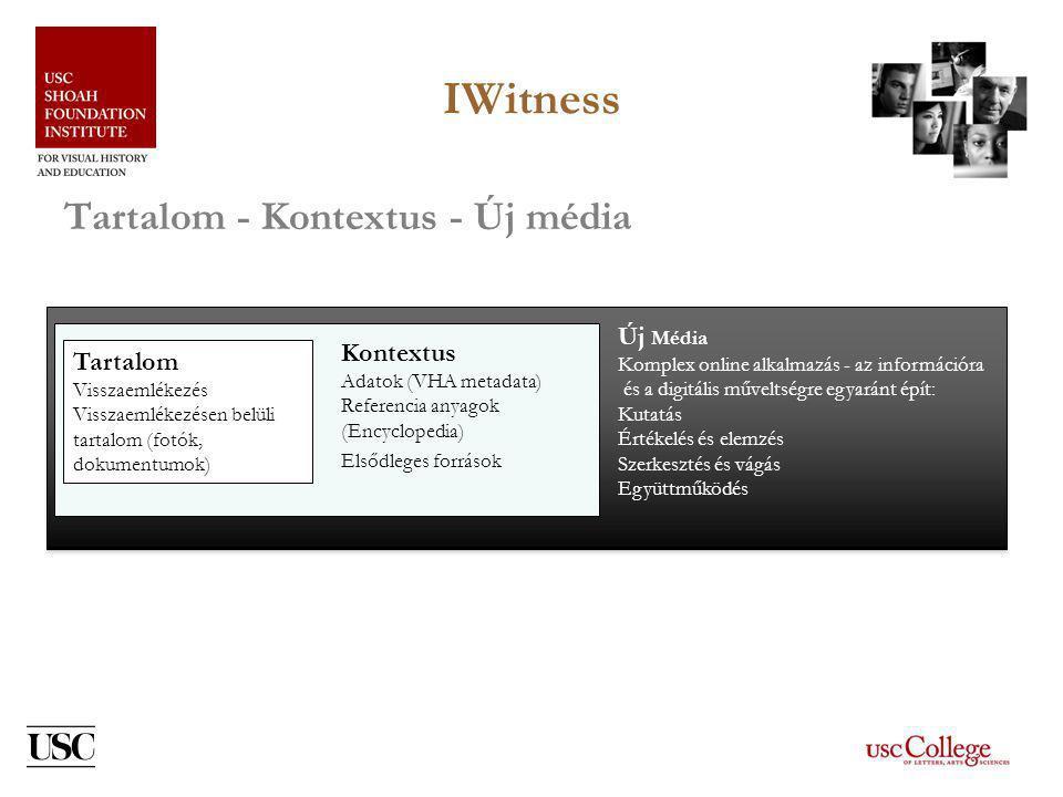 IWitness Tartalom - Kontextus - Új média Új Média Komplex online alkalmazás - az információra és a digitális műveltségre egyaránt épít: Kutatás Értékelés és elemzés Szerkesztés és vágás Együttműködés Tartalom Visszaemlékezés Visszaemlékezésen belüli tartalom (fotók, dokumentumok) Kontextus Adatok (VHA metadata) Referencia anyagok (Encyclopedia) Elsődleges források