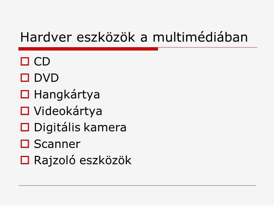 Hardver eszközök a multimédiában  CD  DVD  Hangkártya  Videokártya  Digitális kamera  Scanner  Rajzoló eszközök