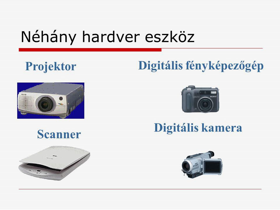 Néhány hardver eszköz Projektor Digitális fényképezőgép Scanner Digitális kamera