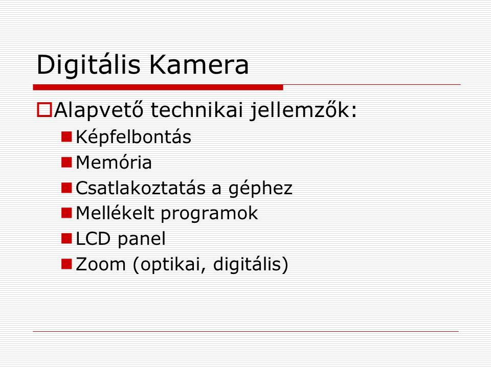 Digitális Kamera  Alapvető technikai jellemzők:  Képfelbontás  Memória  Csatlakoztatás a géphez  Mellékelt programok  LCD panel  Zoom (optikai,