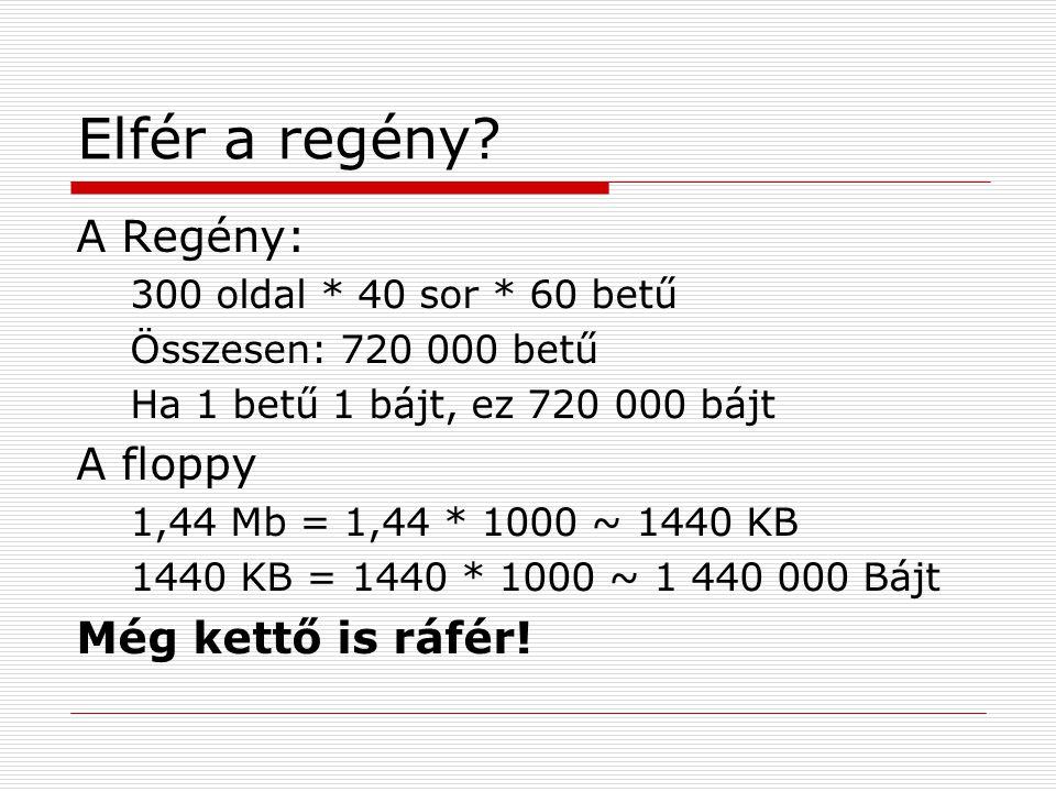 Elfér a regény? A Regény: 300 oldal * 40 sor * 60 betű Összesen: 720 000 betű Ha 1 betű 1 bájt, ez 720 000 bájt A floppy 1,44 Mb = 1,44 * 1000 ~ 1440