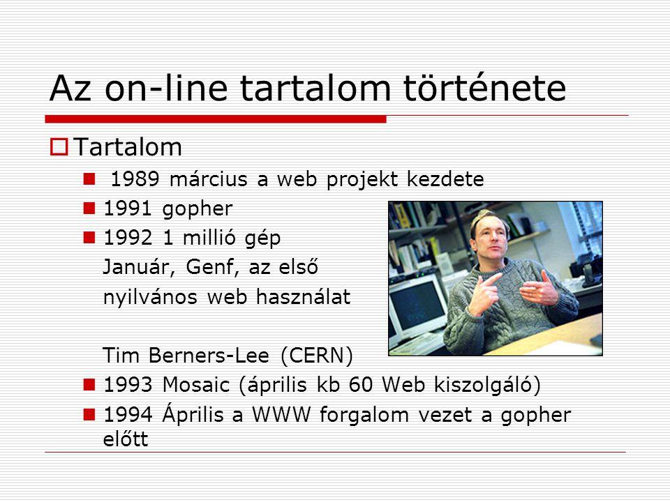 Az on-line tartalom története  Tartalom  1989 március a web projekt kezdete  1991 gopher  1992 1 millió gép Január, Genf, az első nyilvános web ha