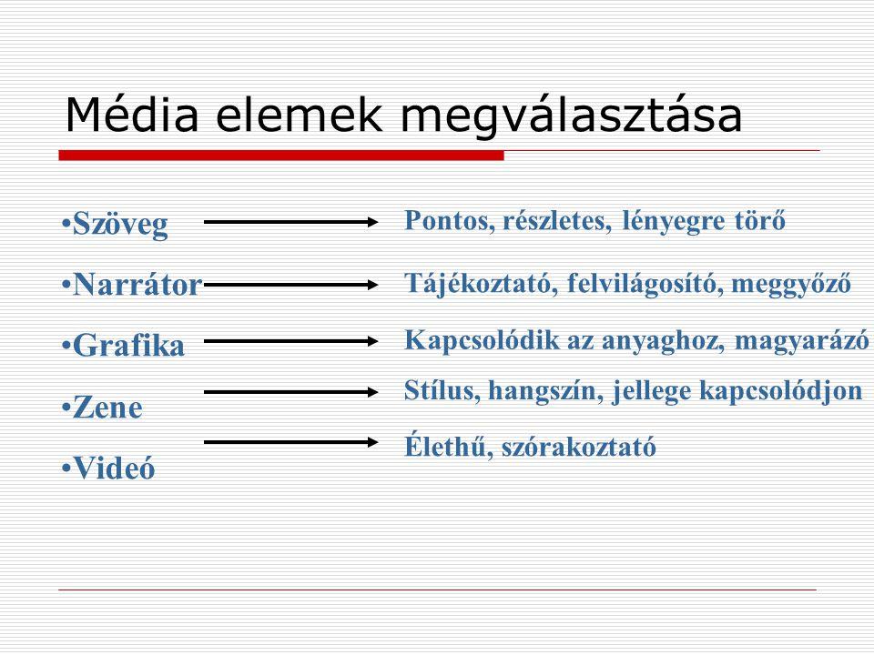 Média elemek megválasztása Pontos, részletes, lényegre törő Tájékoztató, felvilágosító, meggyőző Kapcsolódik az anyaghoz, magyarázó Stílus, hangszín,
