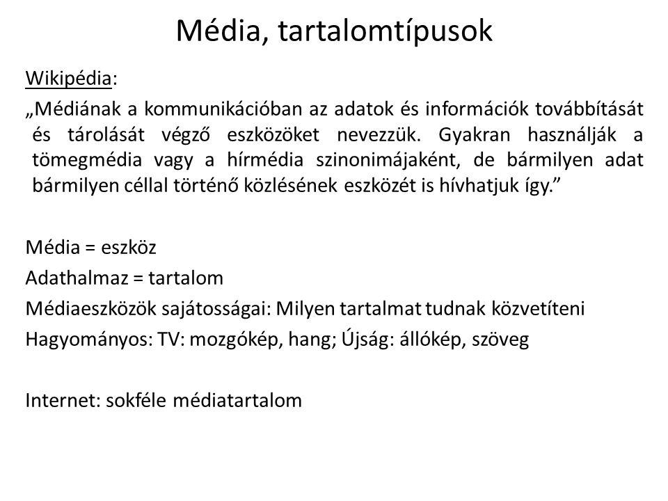 """Média, tartalomtípusok Wikipédia: """"Médiának a kommunikációban az adatok és információk továbbítását és tárolását végző eszközöket nevezzük."""