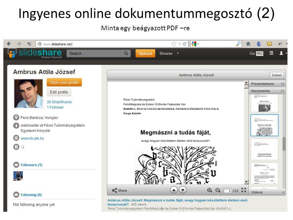 Ingyenes online dokumentummegosztó (2) Minta egy beágyazott PDF –re
