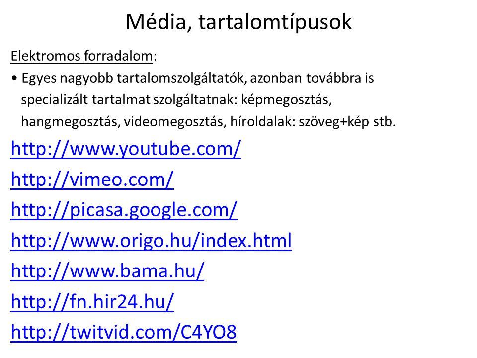 Média, tartalomtípusok Magán és tömegkommunikáció: • A közlés lehet személyközi és tömegkommunikáció + pl.