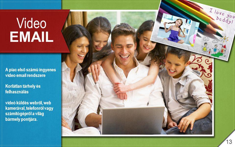 13 Video EMAIL A piac első számú ingyenes video email rendszere Korlátlan tárhely és felhasználás videó küldés webről, web kamerával, telefonról vagy