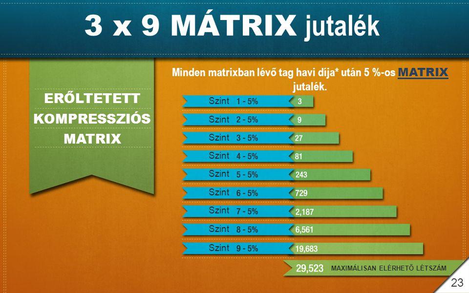 3 x 9 MÁTRIX jutalék ERŐLTETETT KOMPRESSZIÓS MATRIX Minden matrixban lévő tag havi díja* után 5 %-os MATRIX jutalék. Szint MAXIMÁLISAN ELÉRHETŐ LÉTSZÁ