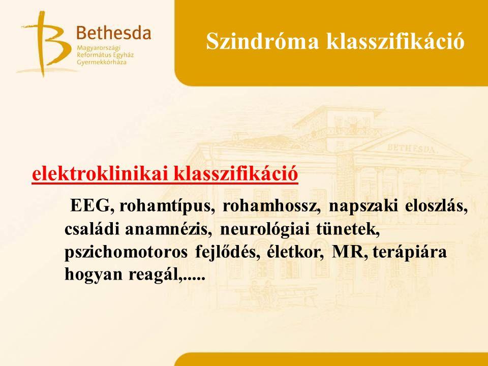 Szindróma klasszifikáció elektroklinikai klasszifikáció EEG, rohamtípus, rohamhossz, napszaki eloszlás, családi anamnézis, neurológiai tünetek, pszich