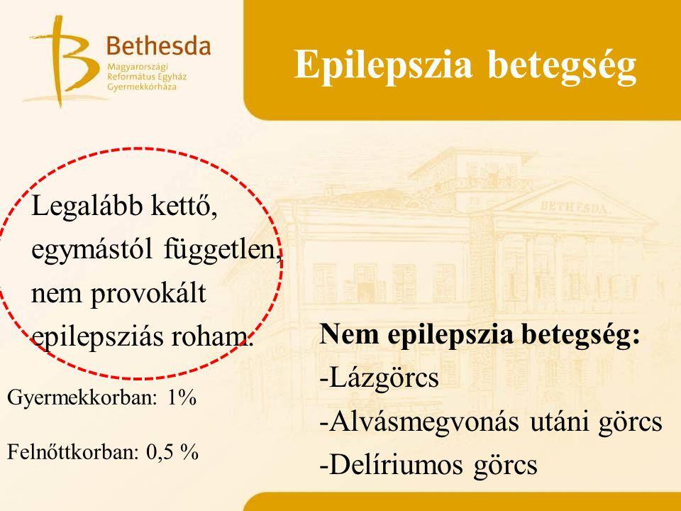 Fokális epilepszia Generalizált epilepszia Idiopátiás epilepszia epilepszia Szimptómás epilepszia
