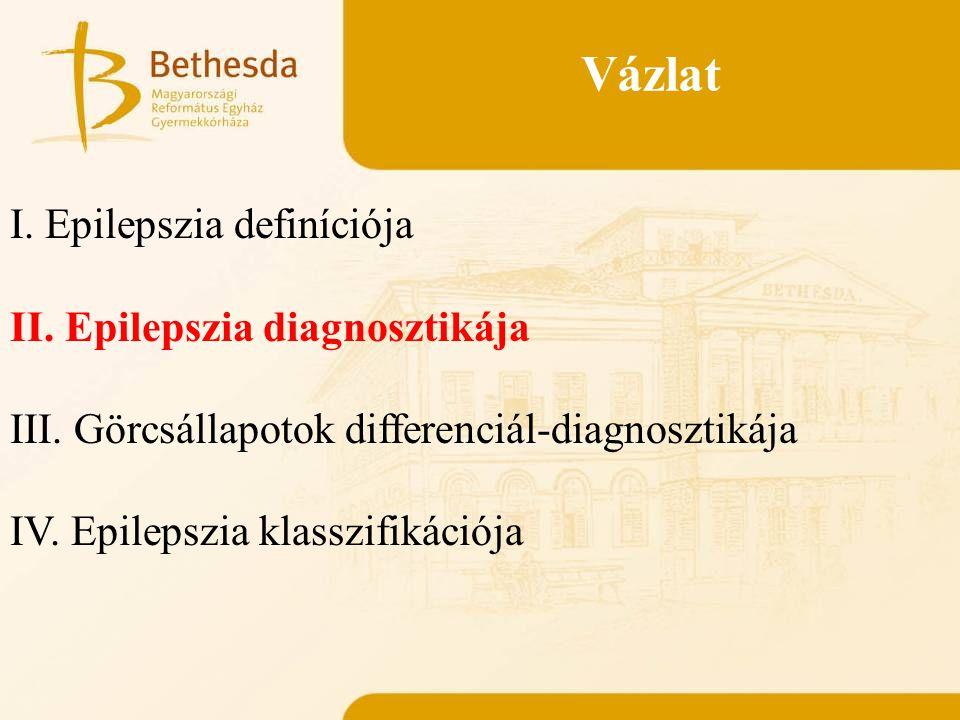 Vázlat I. Epilepszia definíciója II. Epilepszia diagnosztikája III. Görcsállapotok differenciál-diagnosztikája IV. Epilepszia klasszifikációja