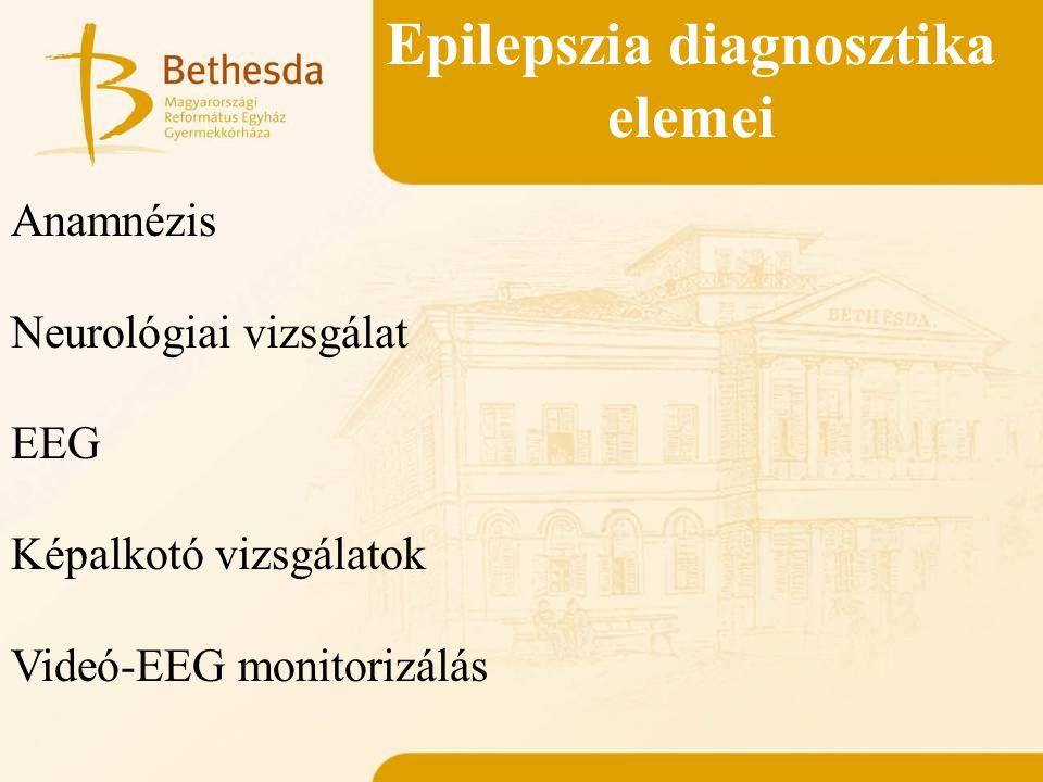 Epilepszia diagnosztika elemei Anamnézis Neurológiai vizsgálat EEG Képalkotó vizsgálatok Videó-EEG monitorizálás Család Perinatális anamnézis Korábbi rohamok Neurológiai betegségek Rohamleírás