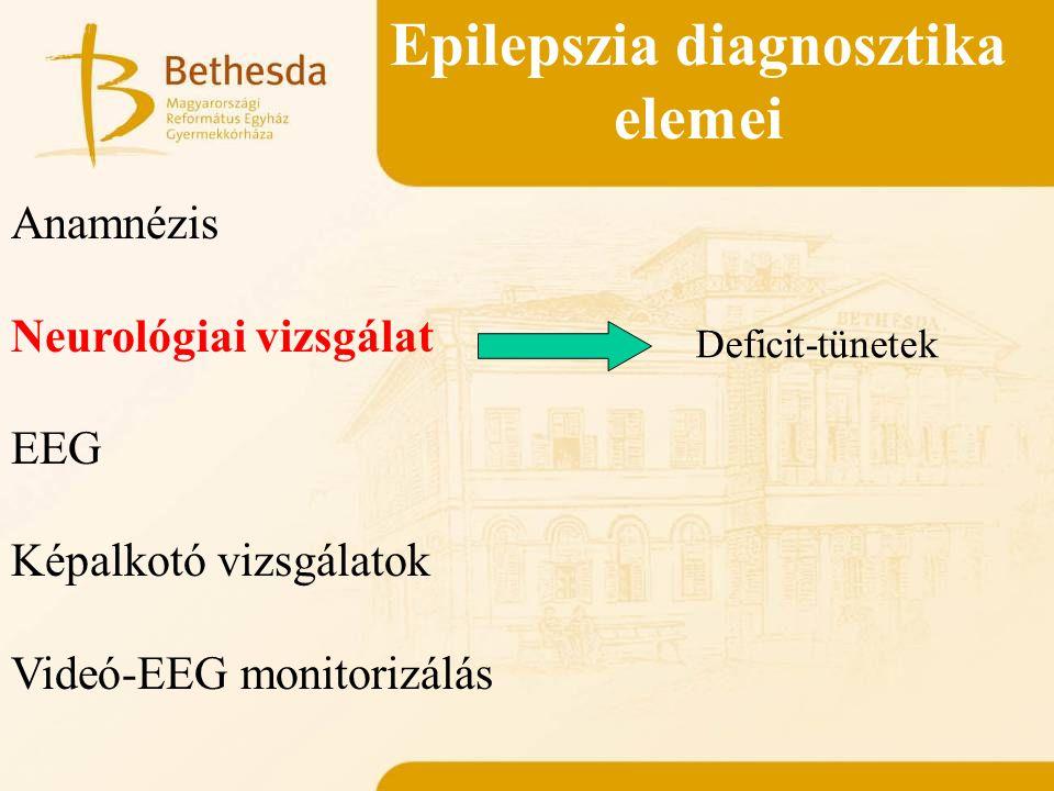 Epilepszia diagnosztika elemei Anamnézis Neurológiai vizsgálat EEG Képalkotó vizsgálatok Videó-EEG monitorizálás Deficit-tünetek