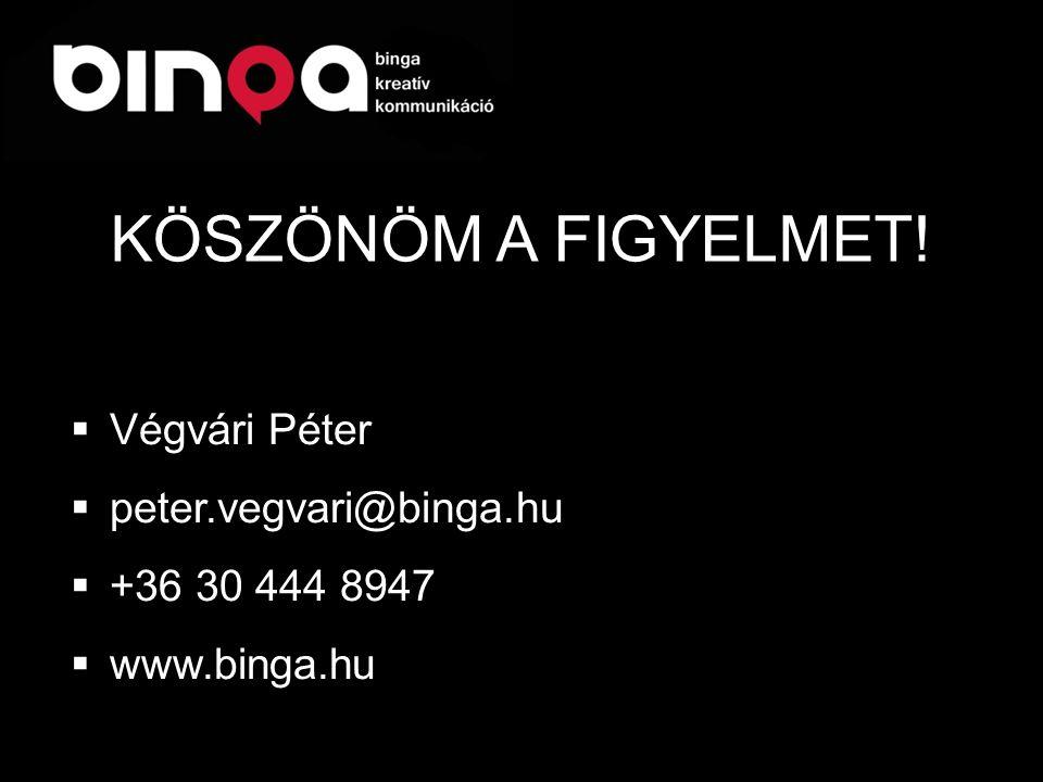  Végvári Péter  peter.vegvari@binga.hu  +36 30 444 8947  www.binga.hu KÖSZÖNÖM A FIGYELMET!