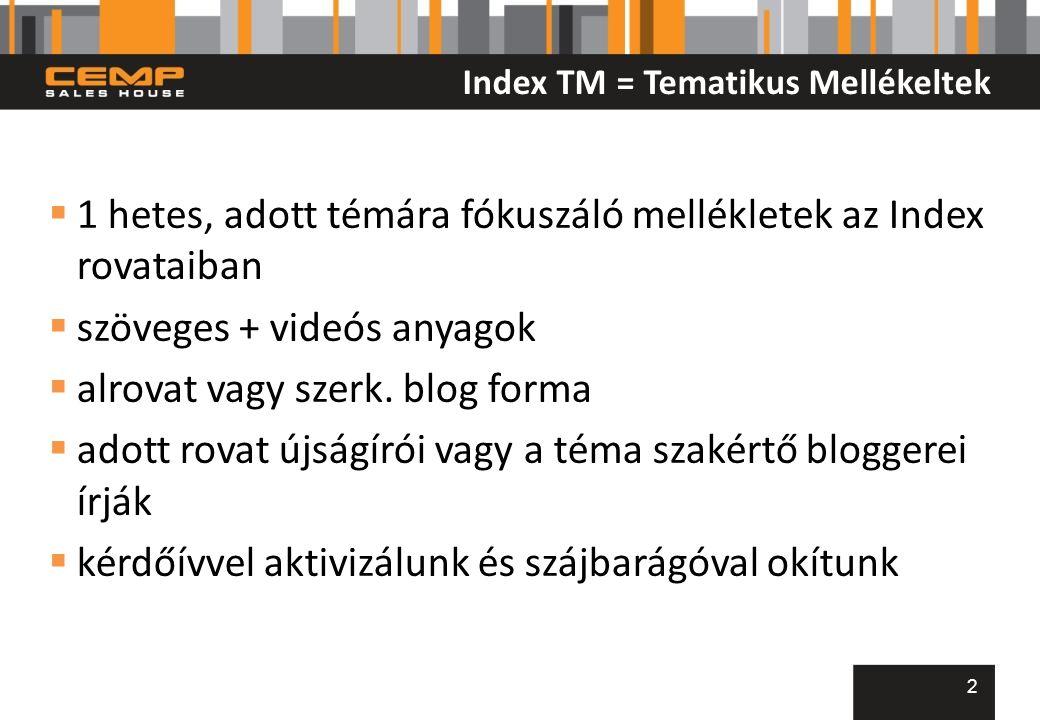 Index TM = Tematikus Mellékeltek  1 hetes, adott témára fókuszáló mellékletek az Index rovataiban  szöveges + videós anyagok  alrovat vagy szerk.