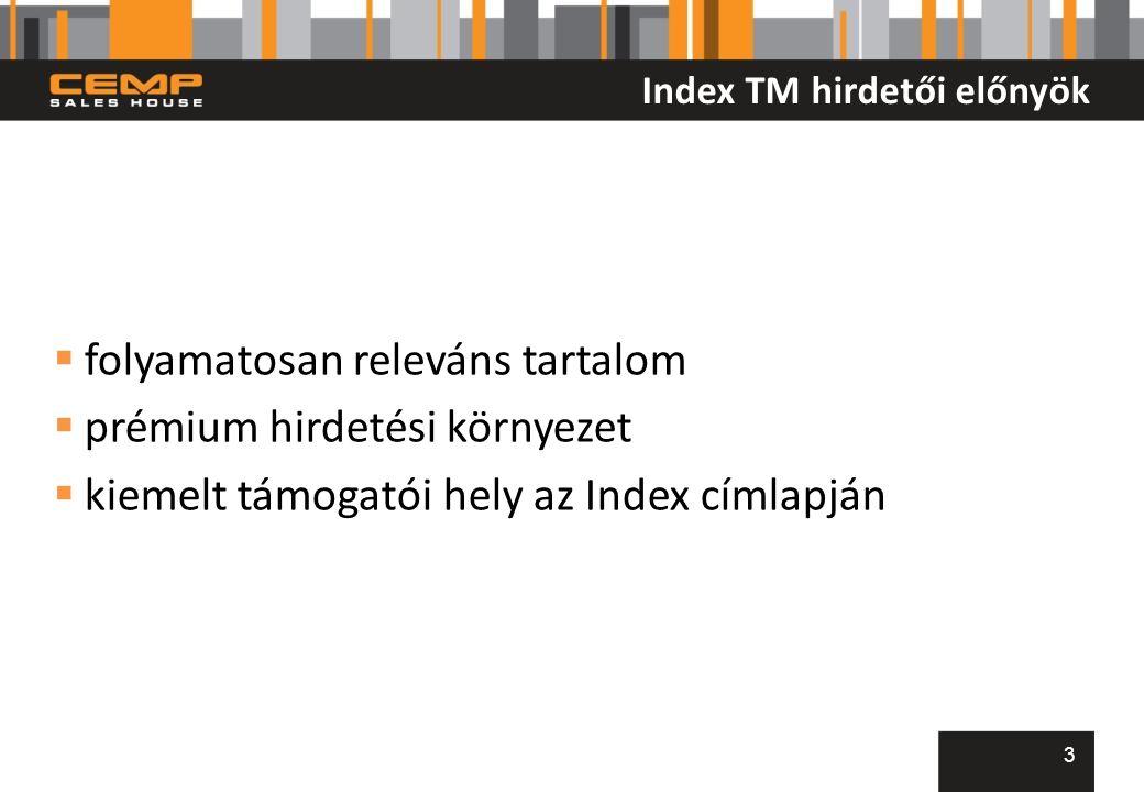 Index TM hirdetői előnyök  folyamatosan releváns tartalom  prémium hirdetési környezet  kiemelt támogatói hely az Index címlapján 3