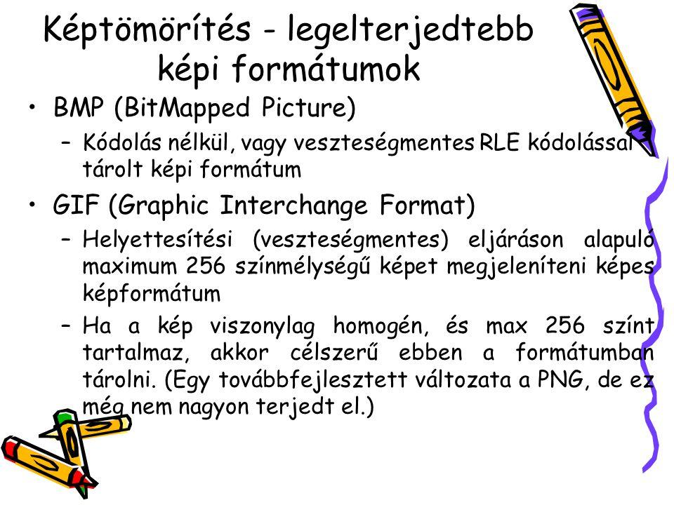 Képtömörítés - legelterjedtebb képi formátumok •BMP (BitMapped Picture) –Kódolás nélkül, vagy veszteségmentes RLE kódolással tárolt képi formátum •GIF