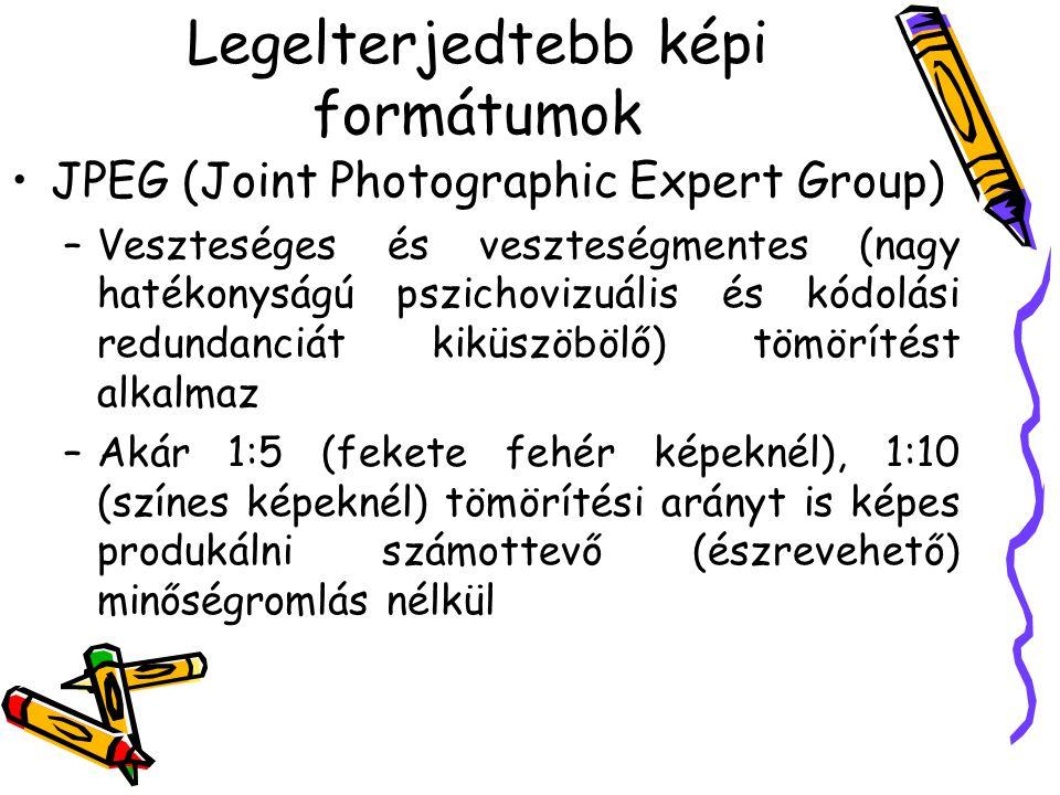 Legelterjedtebb képi formátumok •JPEG (Joint Photographic Expert Group) –Veszteséges és veszteségmentes (nagy hatékonyságú pszichovizuális és kódolási