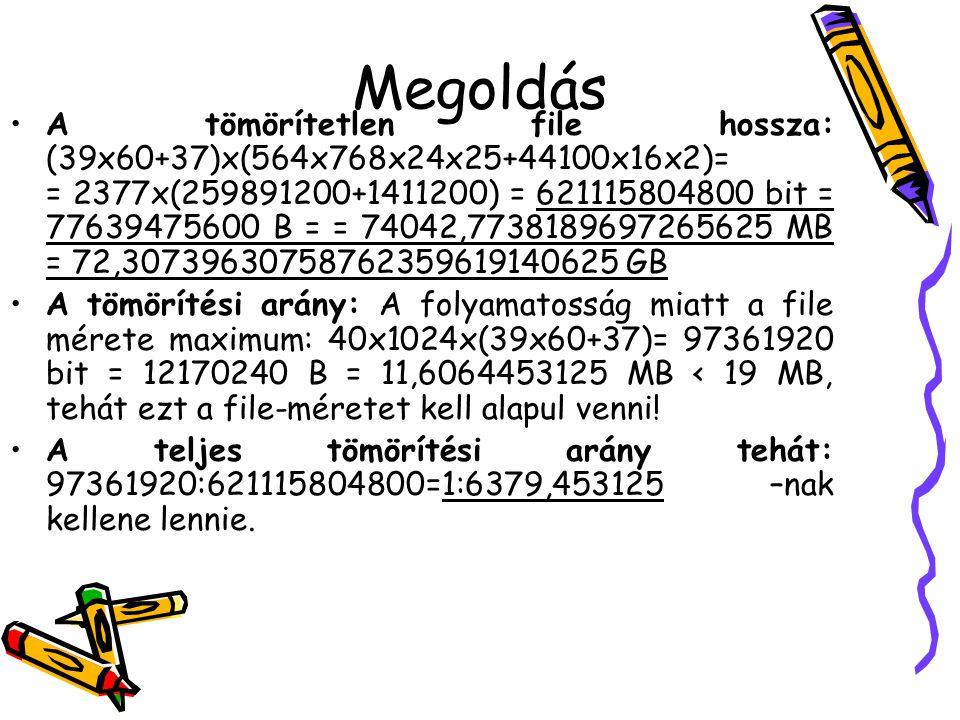 Megoldás •A tömörítetlen file hossza: (39x60+37)x(564x768x24x25+44100x16x2)= = 2377x(259891200+1411200) = 621115804800 bit = 77639475600 B = = 74042,7