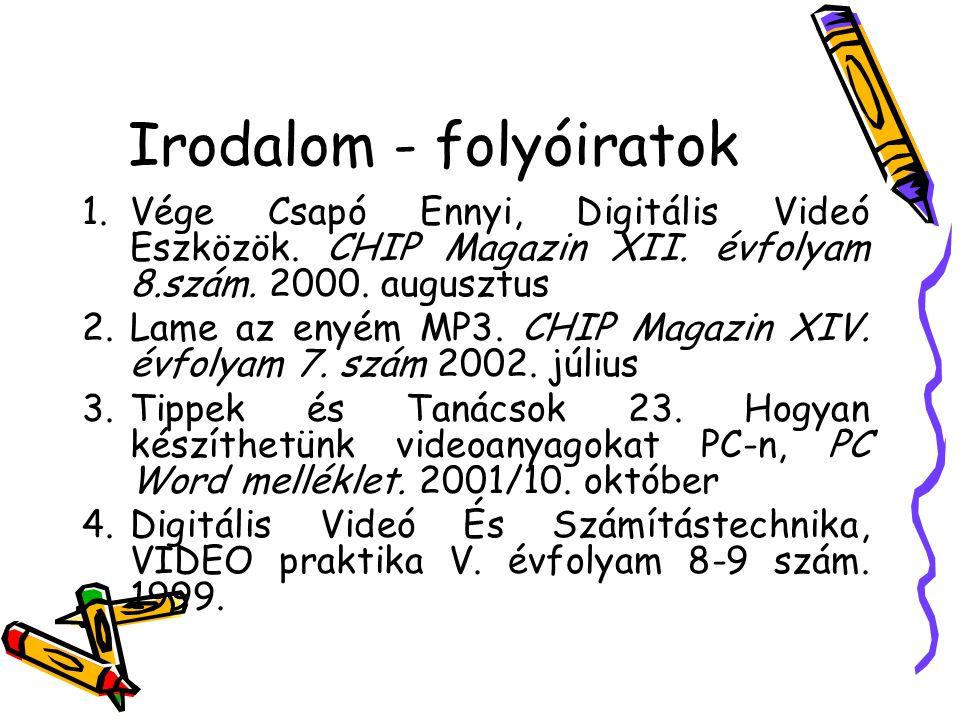 Irodalom - folyóiratok 1.Vége Csapó Ennyi, Digitális Videó Eszközök. CHIP Magazin XII. évfolyam 8.szám. 2000. augusztus 2.Lame az enyém MP3. CHIP Maga