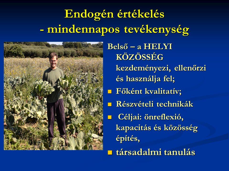 Endogén értékelés - mindennapos tevékenység Belső – a HELYI KÖZÖSSÉG kezdeményezi, ellenőrzi és használja fel;  Főként kvalitatív;  Részvételi technikák  Céljai: önreflexió, kapacitás és közösség építés,  társadalmi tanulás