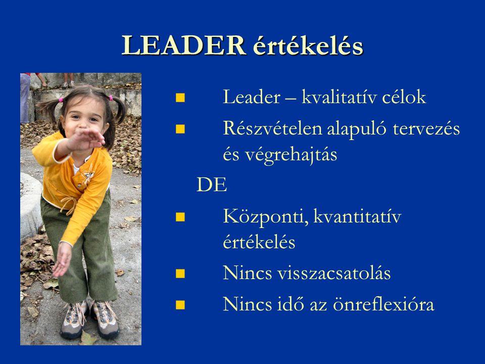LEADER értékelés   Leader – kvalitatív célok   Részvételen alapuló tervezés és végrehajtás DE   Központi, kvantitatív értékelés   Nincs visszacsatolás   Nincs idő az önreflexióra