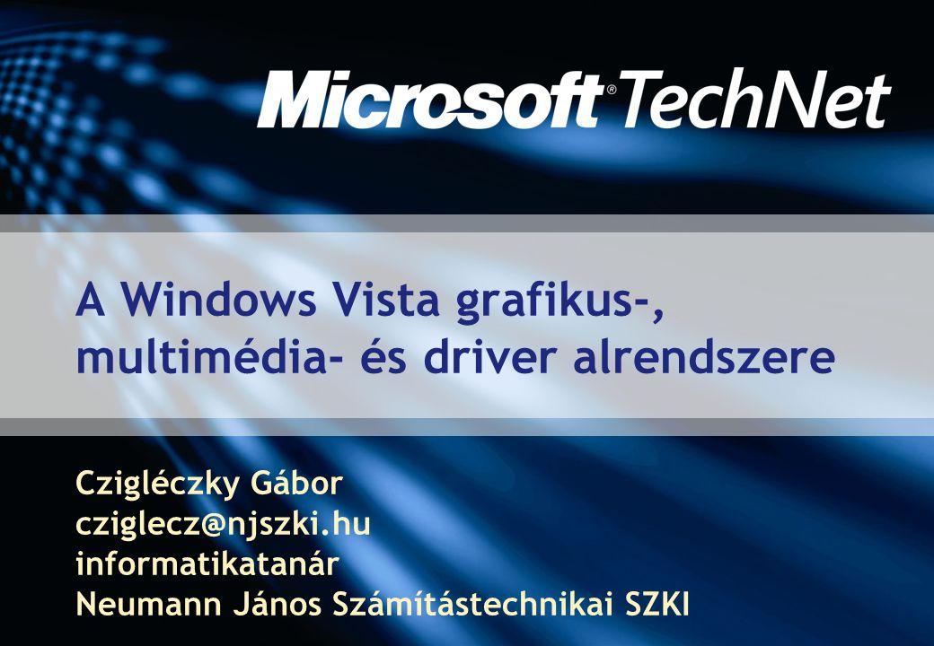 Windows Presentation Foundation  Korábbi kódnevén: Avalon  Egységes programozói felület  Az alkalmazások grafikus felületének fejlesztéséhez  A felhasználói felület és a programkód elválasztása  XML-alapú leírónyelvet támogat  Része a.NET Framework 3.0-nak (korábban WinFX)  A WPF-alkalmazások Windows XP-n és Windows Server 2003 rendszereken is futtathatóak  Kivéve, amelyek a Vista szolgáltatásait kihasználják