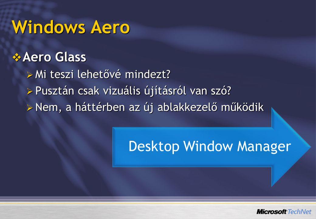 Windows Aero  Aero Glass  Mi teszi lehetővé mindezt?  Pusztán csak vizuális újításról van szó?  Nem, a háttérben az új ablakkezelő működik Desktop