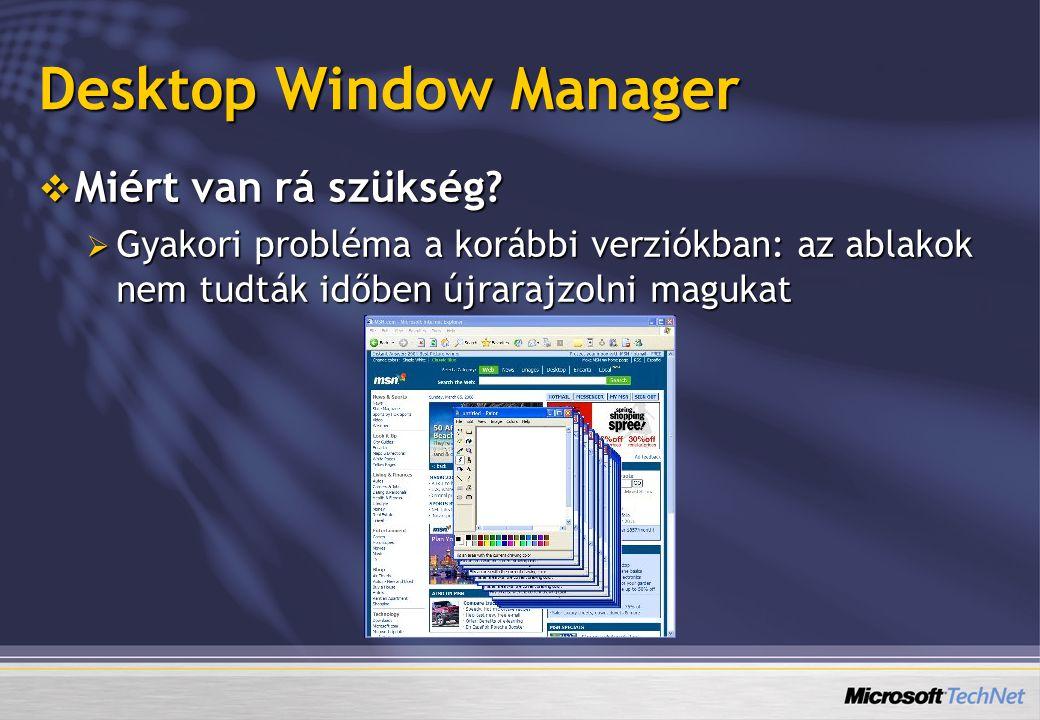  Miért van rá szükség?  Gyakori probléma a korábbi verziókban: az ablakok nem tudták időben újrarajzolni magukat