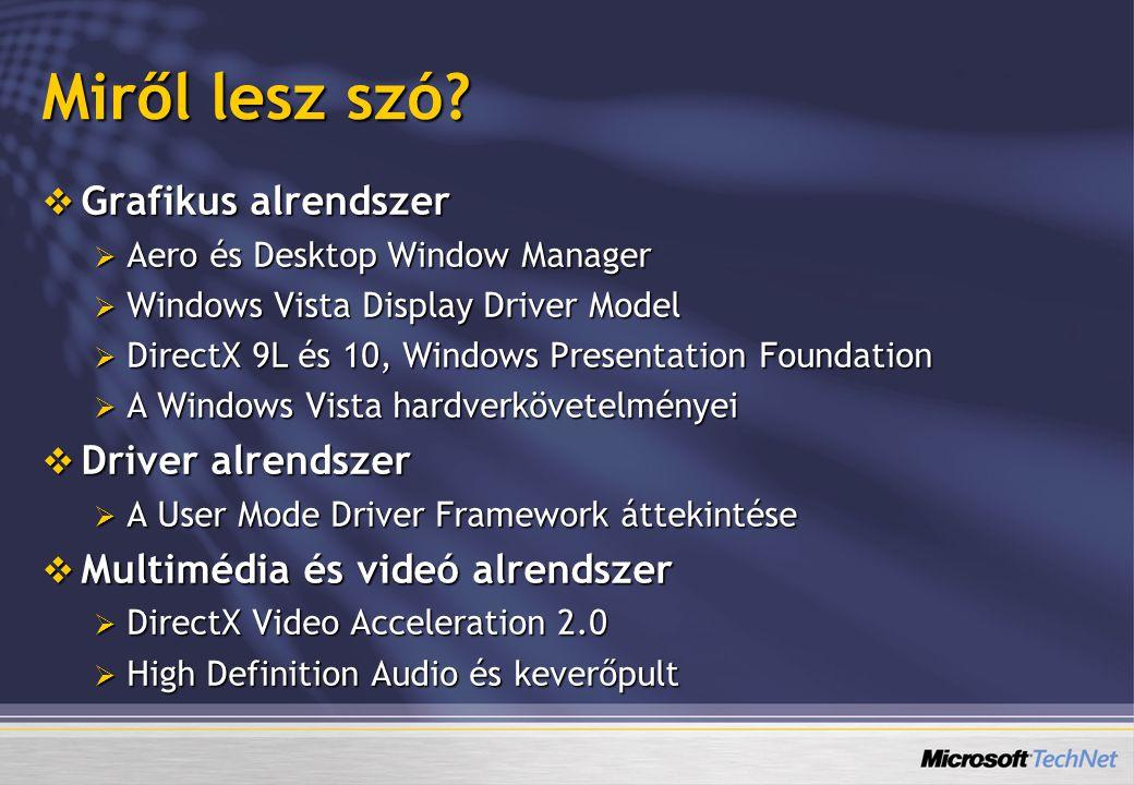  Grafikus alrendszer  Aero és Desktop Window Manager  Windows Vista Display Driver Model  DirectX 9L és 10, Windows Presentation Foundation  A Windows Vista hardverkövetelményei  Driver alrendszer  A User Mode Driver Framework áttekintése  Multimédia és videó alrendszer  DirectX Video Acceleration 2.0  High Definition Audio és keverőpult