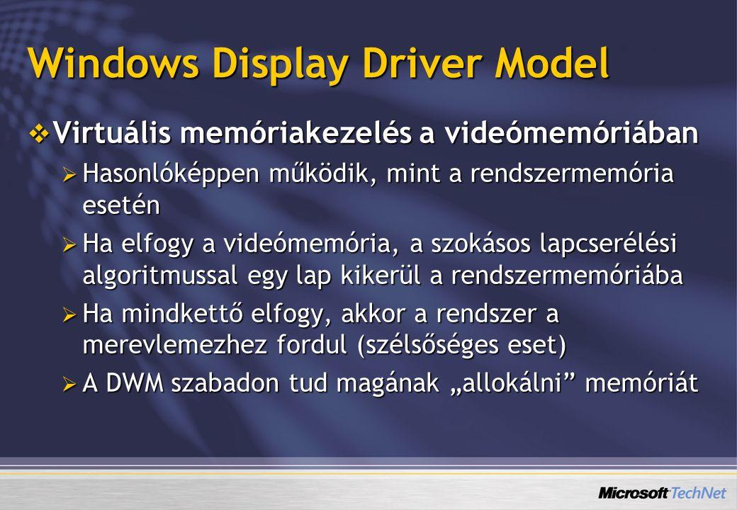 Windows Display Driver Model  Virtuális memóriakezelés a videómemóriában  Hasonlóképpen működik, mint a rendszermemória esetén  Ha elfogy a videóme