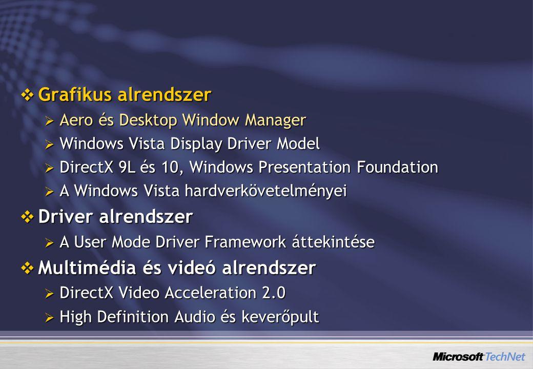 Windows Driver Foundation (WDF)  A WDF a Windows Driver Model (WDM) utódja  Kernel Mode Driver Framework (KDMF)  közvetlen hardvereléréshez (DMA, megszakítások)  hozzáférés a kernel adataihoz  User Mode Driver Framework (UDMF)  buszok (USB, Firewire)  szoftveres driverek (filterek, virtuális portok)  Windows XP alatt is (WMP11-gyel települ)  Hibrid módú driverek (lásd grafikus kártya)  Aránylag könnyű átírni a jelenlegi WDM-drivereket UDMF-re