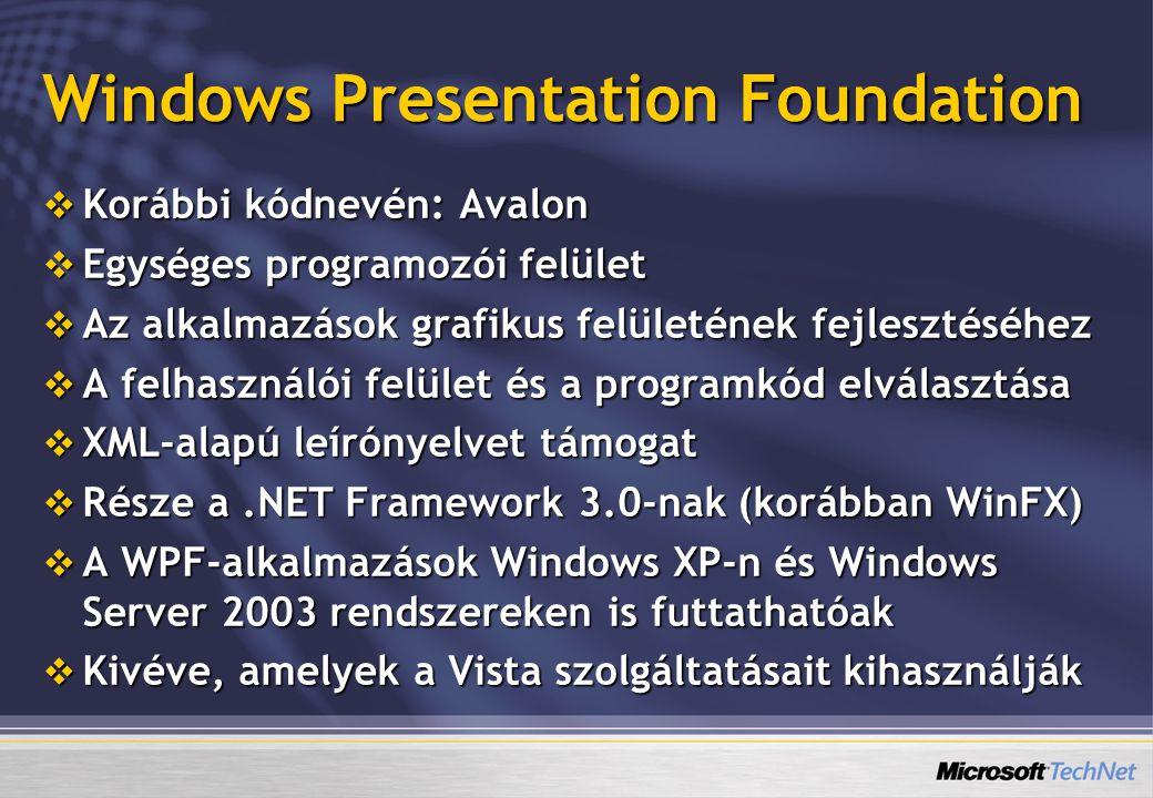 Windows Presentation Foundation  Korábbi kódnevén: Avalon  Egységes programozói felület  Az alkalmazások grafikus felületének fejlesztéséhez  A fe