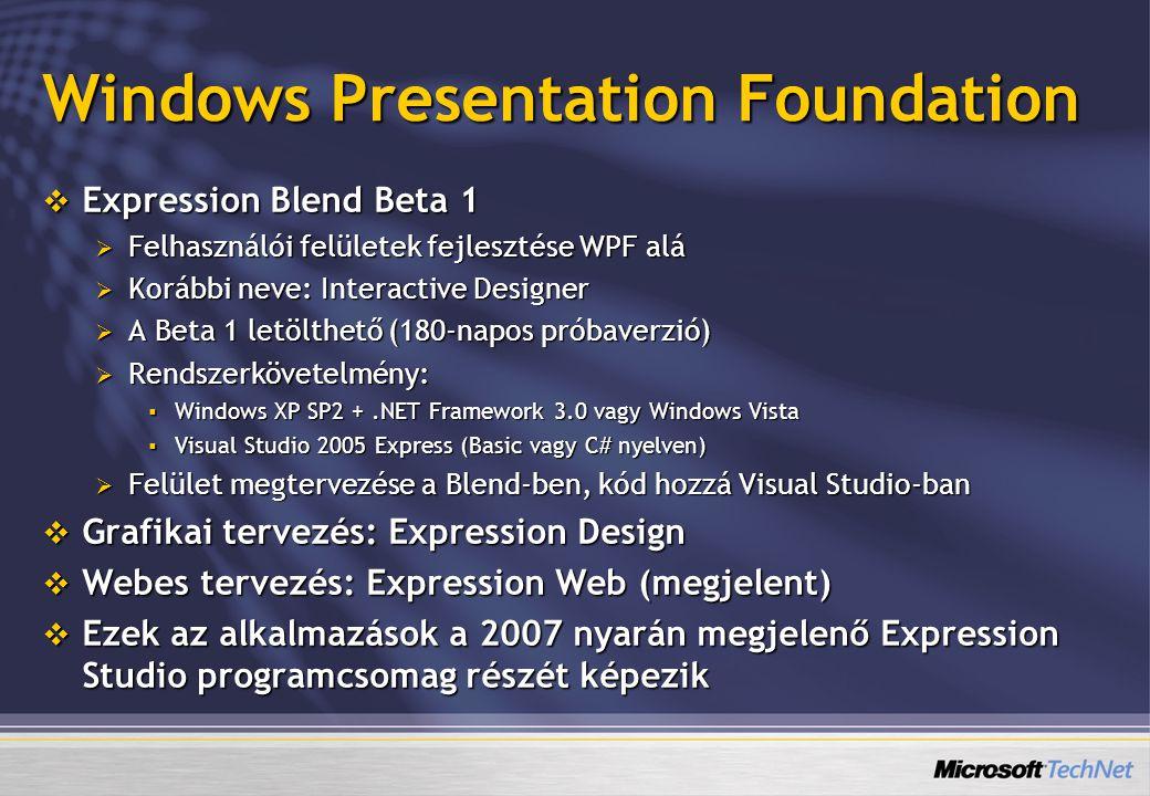 Windows Presentation Foundation  Expression Blend Beta 1  Felhasználói felületek fejlesztése WPF alá  Korábbi neve: Interactive Designer  A Beta 1