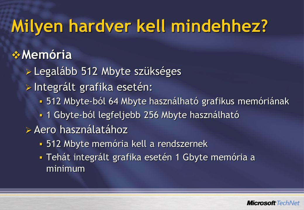 Milyen hardver kell mindehhez?  Memória  Legalább 512 Mbyte szükséges  Integrált grafika esetén:  512 Mbyte-ból 64 Mbyte használható grafikus memó