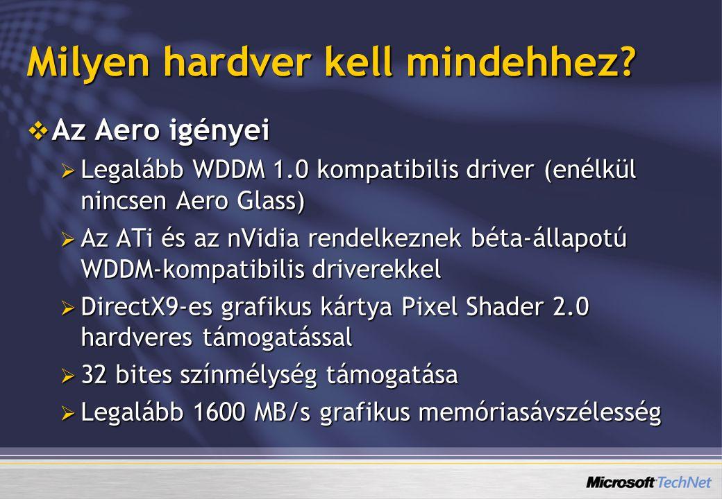 Milyen hardver kell mindehhez?  Az Aero igényei  Legalább WDDM 1.0 kompatibilis driver (enélkül nincsen Aero Glass)  Az ATi és az nVidia rendelkezn