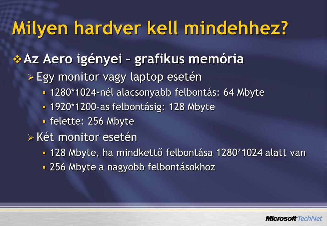 Milyen hardver kell mindehhez?  Az Aero igényei – grafikus memória  Egy monitor vagy laptop esetén  1280*1024-nél alacsonyabb felbontás: 64 Mbyte 
