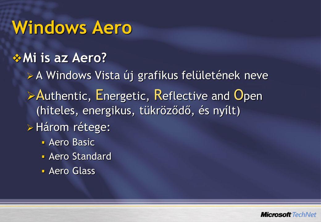 Windows Classic Ultimate Enterprise Business Home Premium Home Basic Starter Követelmény Fejlesztési kódnév Aero Glass Aero Express Aero To Go WDDM grafikus kártya Bármilyen grafikus kártya Basic Desktop Composition (simább újrarajzolás) Megnövelt stabilitás Szebb külső Standard Windows Aero Átlátszósági effektek Live preview Windows Flip Windows Flip 3D Animált ablakok Az Aero rétegei WDDM grafikus kártya Windows 2000 felület Újratervezett Start Menü Új Intéző-ablakok Új ikonok Előnézet panel Új varázslók, dialógusok