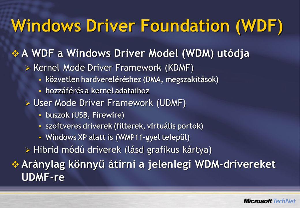 Windows Driver Foundation (WDF)  A WDF a Windows Driver Model (WDM) utódja  Kernel Mode Driver Framework (KDMF)  közvetlen hardvereléréshez (DMA, m