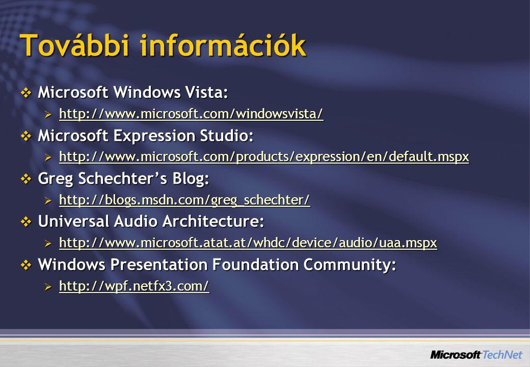 További információk  Microsoft Windows Vista:  http://www.microsoft.com/windowsvista/ http://www.microsoft.com/windowsvista/  Microsoft Expression