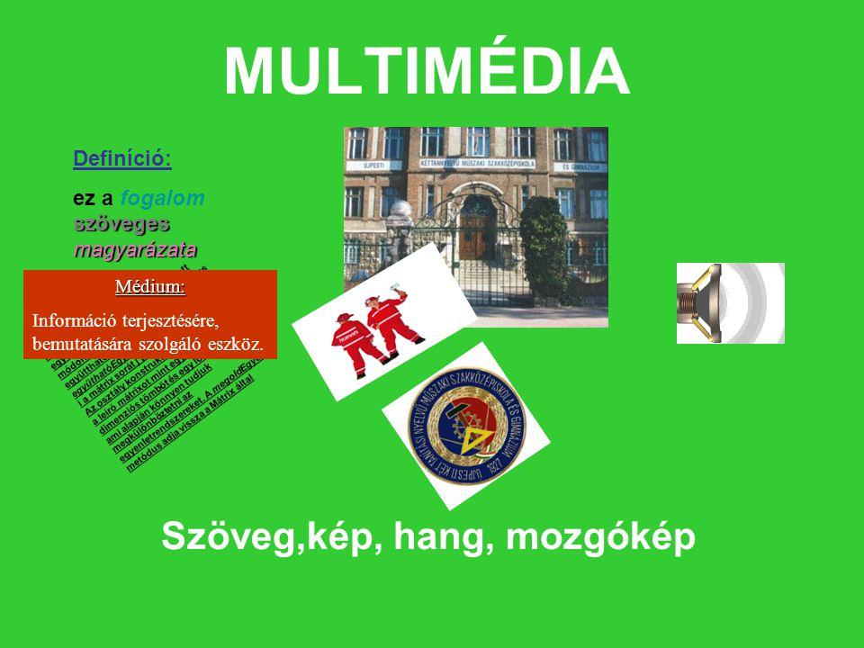 MULTIMÉDIA Szöveg,kép, hang, mozgókép Definíció: ez a fogalom szöveges magyarázata A Mátrix osztály jelképezi az egyenletRendszereket a fent említett